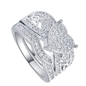 2pcs/set Full Crystal Heart CZ Cubic Zircon Finger Ring Wedding Engagement Bridal Jewelry US 6.7.8.9