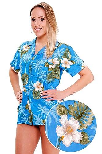 Funky Hawaiian Blouse Women Short-Sleeve Front-Pocket Flower Designs MultiColors
