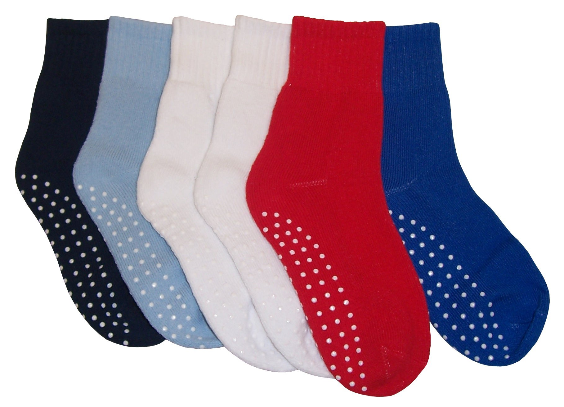 N'Ice Caps Big And Little Boys Cotton/Spandex 2 Tone Crew Sock 6PR Pack (Sock Size 8-9.5, Solid Color with Gripper)