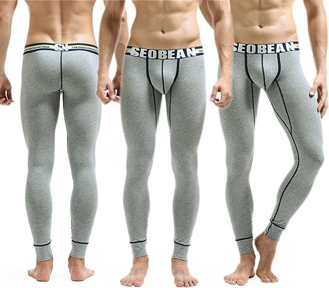 Yeke Men Cotton Warm Long Pants Thermal Underwear Solid Soft Underpants Long Johns SE03