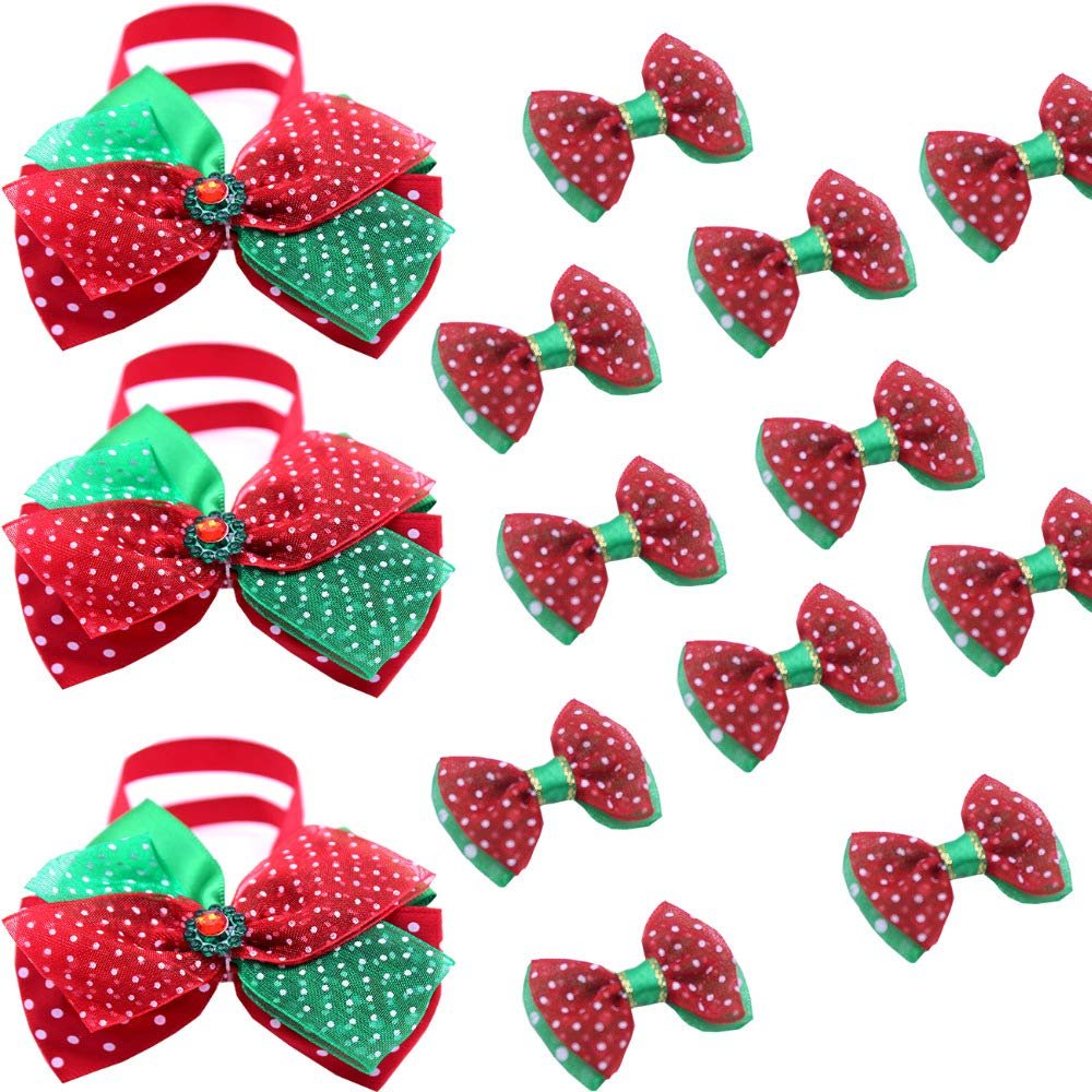 New 40pcs Christmas Pet Supplies Pet Dog Cat Holiday Set Bow tie Combos Handmade Pet Dog Hair Bows Dog Grooming Accessories