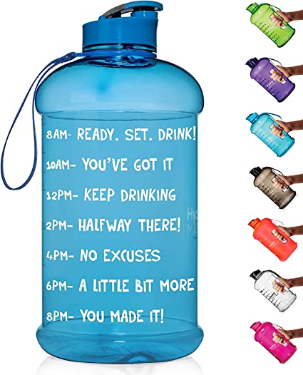 HydroMATE Half Gallon Motivational Water Bottle with Time Marker Large BPA  Free Jug with Handle Reusable Leak Proof Bottle Time Marked to Drink More  Water Daily, Sports Water Bottles - Amazon Canada