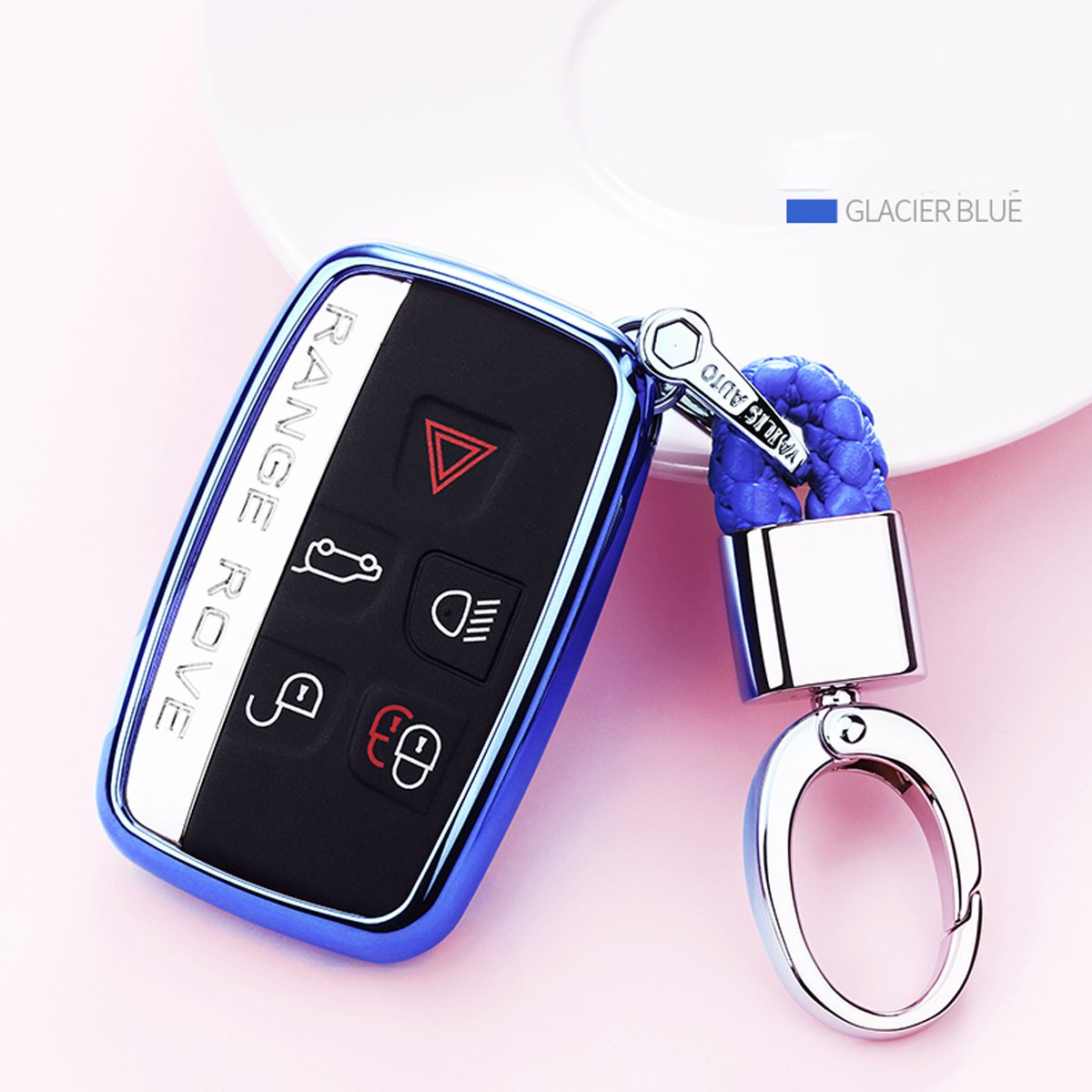 MODIPIM Keyless Entry Remote Cover Soft TPU Key Fob Case with Diamond Tassel Keychain for Land Rover Defender Discovery Sport LR4 Range Rover Sport 5-Buttons Smart Key Color Silver