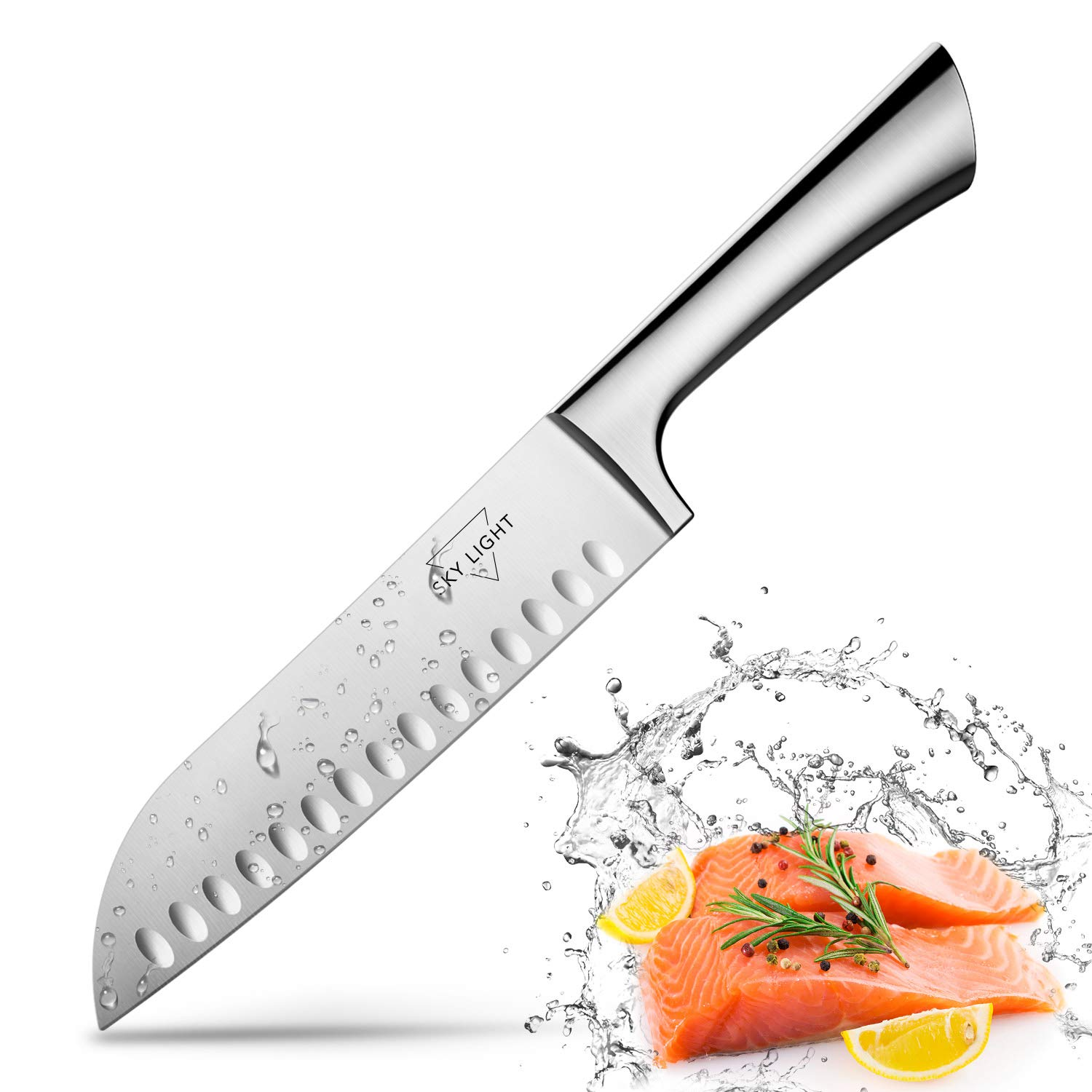 Santoku Knife Kitchen Knife Japanese Sushi Knife, 7 Inch Hollow Edge Blade with German HC Stainless Steel