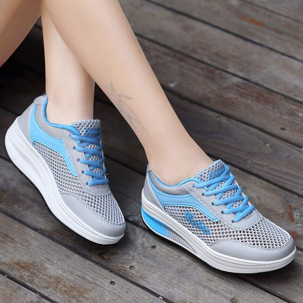 Womens Athletic Walking Shoes Casual Mesh Breathable Comfort Platform Slip On Shoes Jogging Running Gym Sports Sneaker