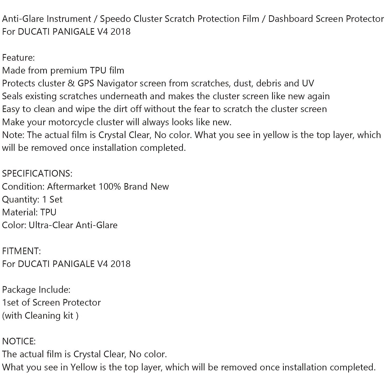 Pellicola protettiva antiriflesso ultra trasparente per cruscotto Areyourshop per Duca-ti PANIGALE V4 2018