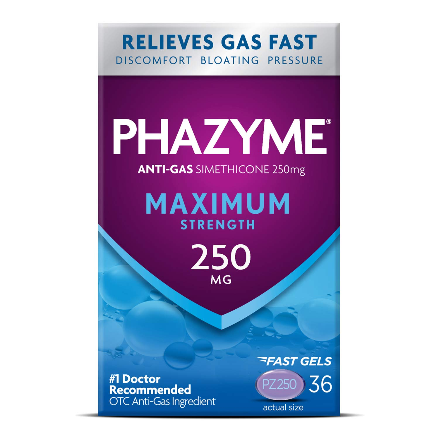 Phazyme Maximum Strength Gas and Bloating Relief, 250 mg Simethicone, 36 Fast Gels