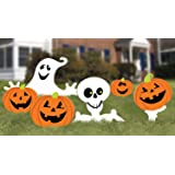 "Family Friendly Skeleton and Ghost Corrugate Yard Stake Signs Halloween Trick or Treat Party Outdoor Decoration, Plastic, 20"" x 16"", Pack of 6."