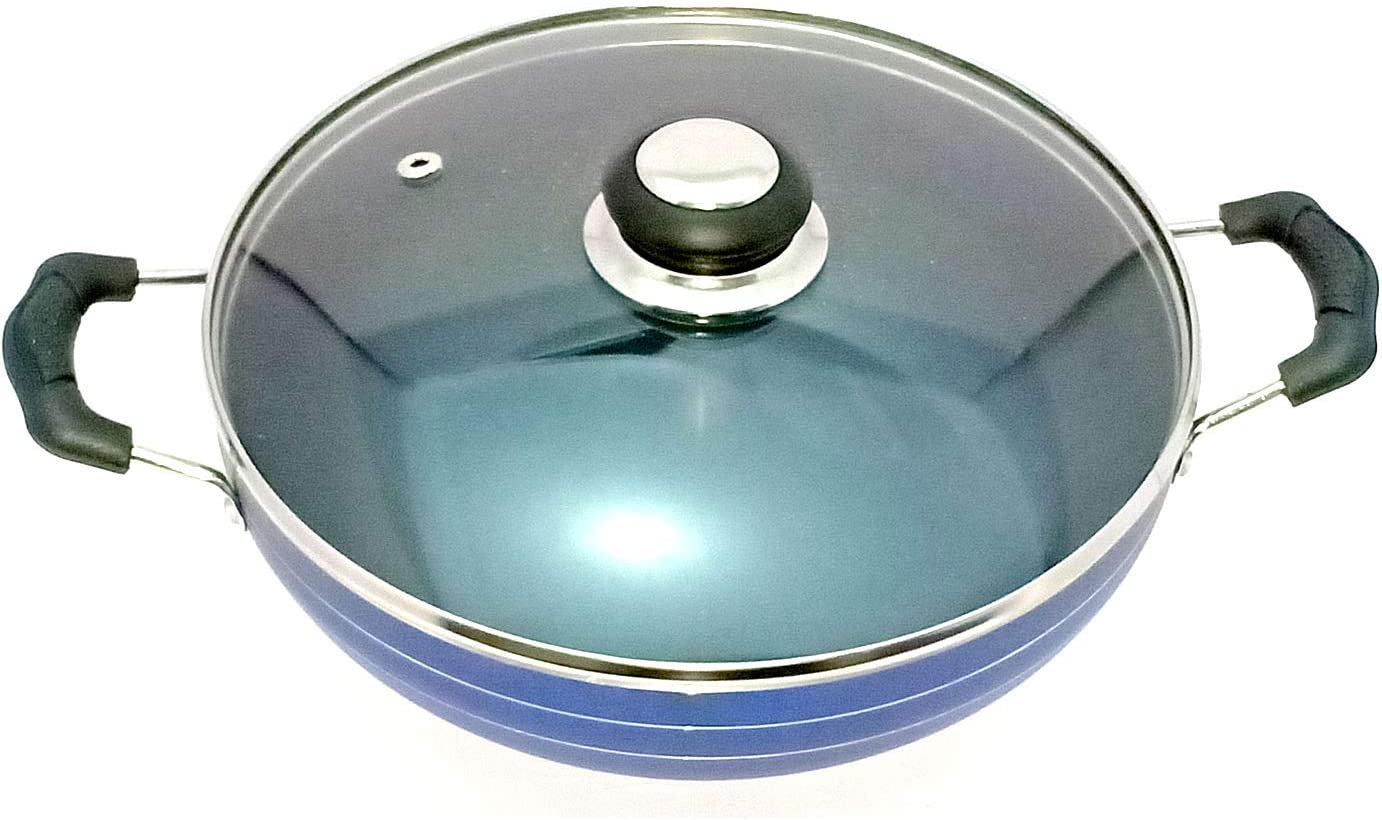 Non-Stick Cookware Cooking with glass lid Multipurpose Use for Home Kitchen Non Stick Frying Wok Flat Bottom