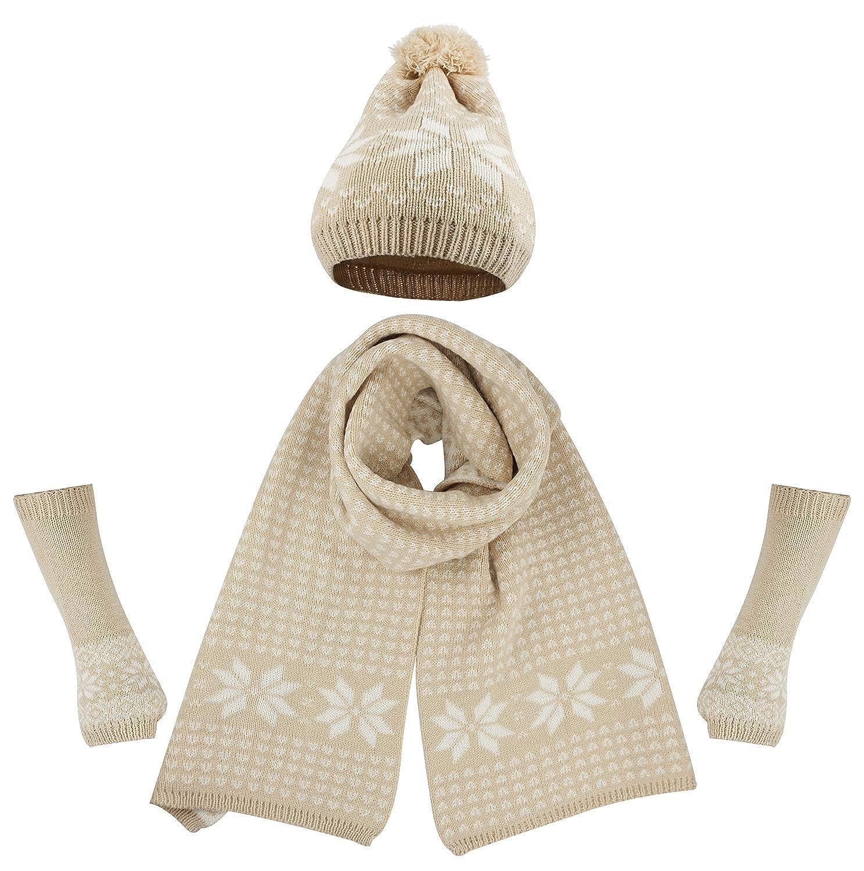14a4a934ef2e Bienvenu Women s Snowflake Hat Gloves and Scarf Winter Set