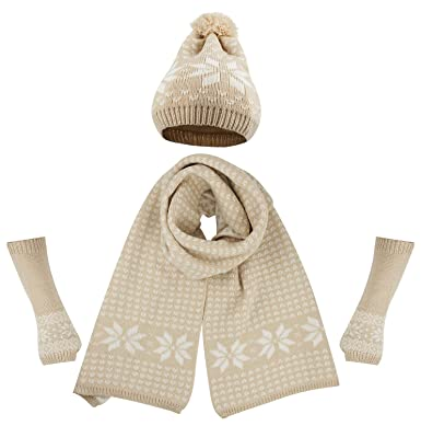ce3ae9c2f24 Bienvenu Women s Snowflake Hat Gloves and Scarf Winter Set