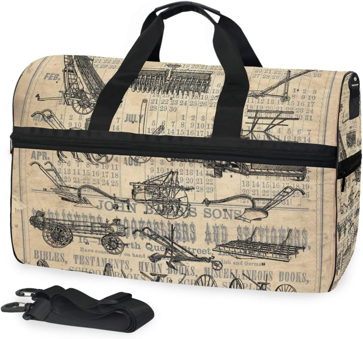 Vintage Farm Agricultural Implements Tractor Plow Farmhouse Large Travel Duffel Tote Bag Weekend Overnight Travel Bag Gym Bag Fitness Sports Bag with Shoes Compartment