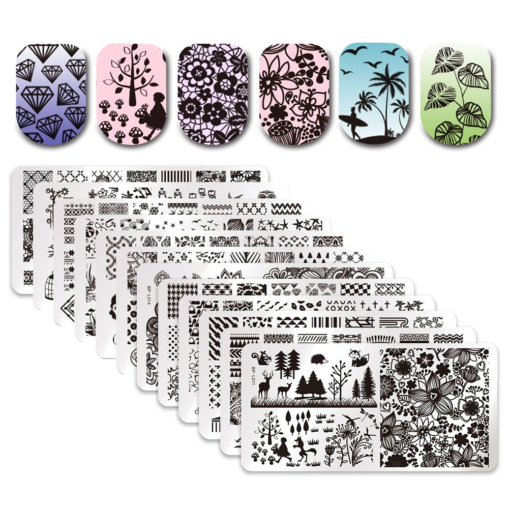Born Pretty 12Pcs Nail Art Stamp Stamping Template Christmas Snowflake Image Plates DIY Nail Art