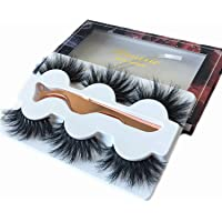 3 Styles 3D Mink Lashes 20mm Mink Eyelashes Real Fluffy Natural Dramatic Cruelty-Free Eyelashes Strip With Tweezers
