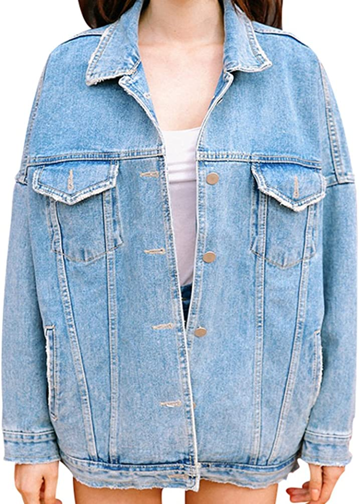 Sentao Denim Giacca Donna Manica Lunga Pulsante Oversized Jeans Jacket Outerwear Cappotti