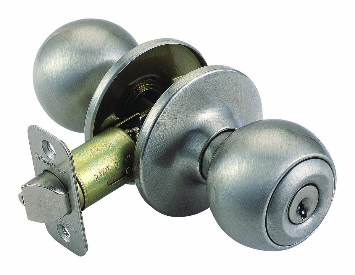 Design House 781880 Ball 2-Way Adjustable Entry Door Knob, Satin Nickel