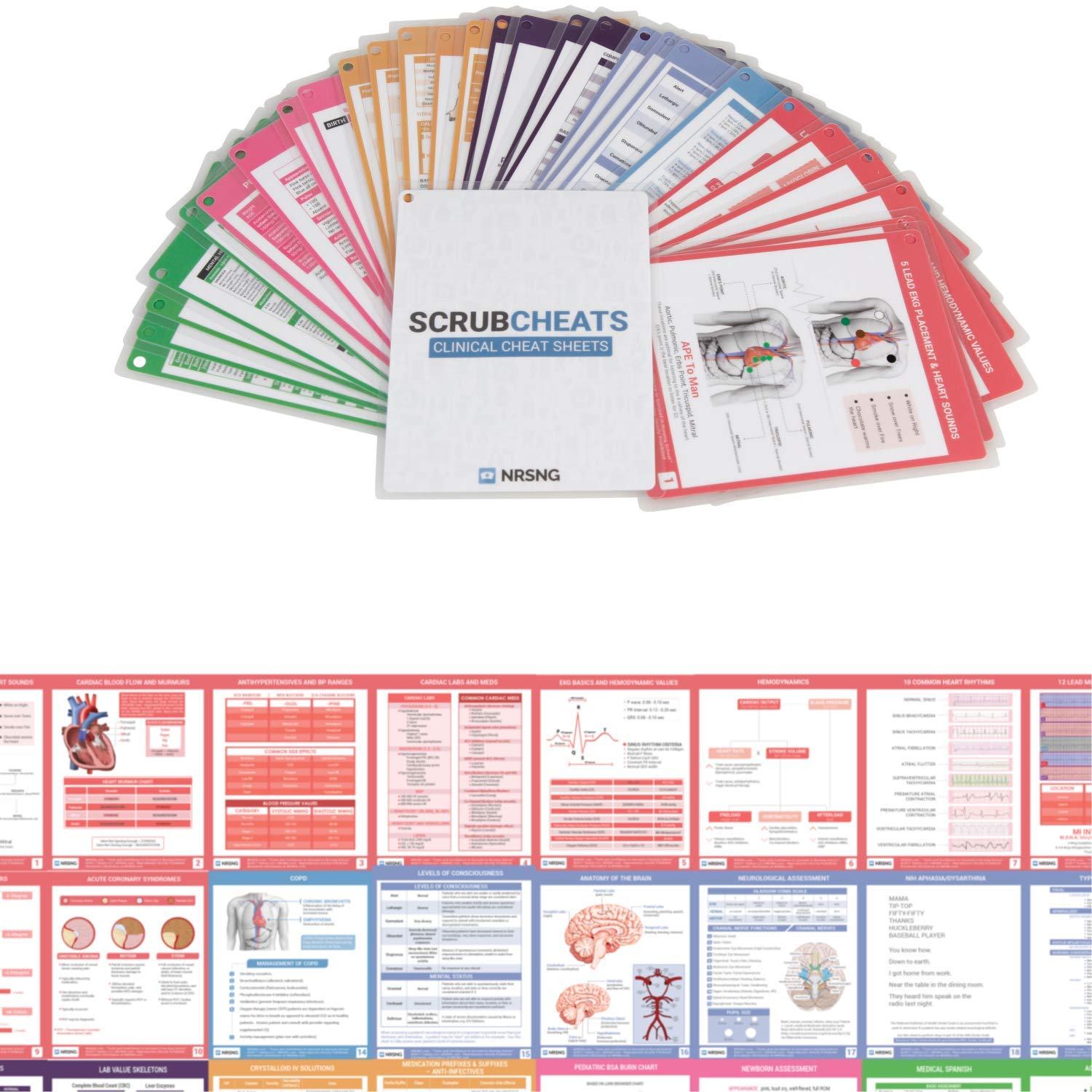 Scrubcheats 2018 56 Heavy Duty Laminated Nursing Reference Cards by NRSNG (4X6 Fits in Scrub Pocket) (MedSurg, Critical Care, Pharmacology, OB/Peds, Respiratory, Cardiac) WATERPROOF, SPLASH PROOF