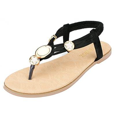091ffe55801c SANMIO Damen Sandalen, Frauen Flach Zehentrenner Bohemian Strass Sandaletten  Sommer PU Leder Sandals
