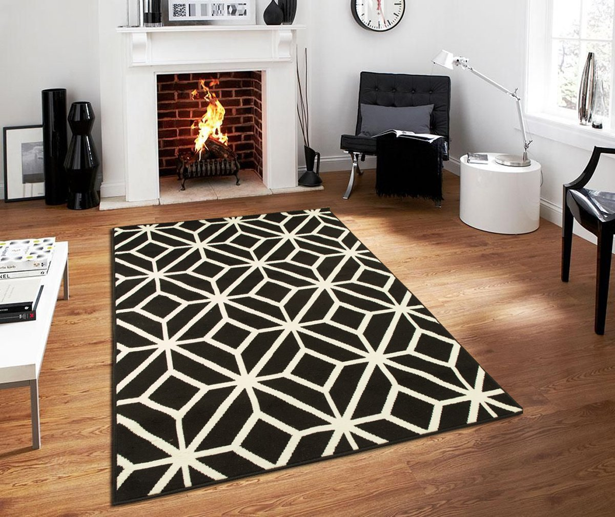 Black Moroccan Trellis 2'0x3'0 Area Rug Carpet Black and White Entrance Rug Washable Rugs for Bedroom, 2x3 Rugs