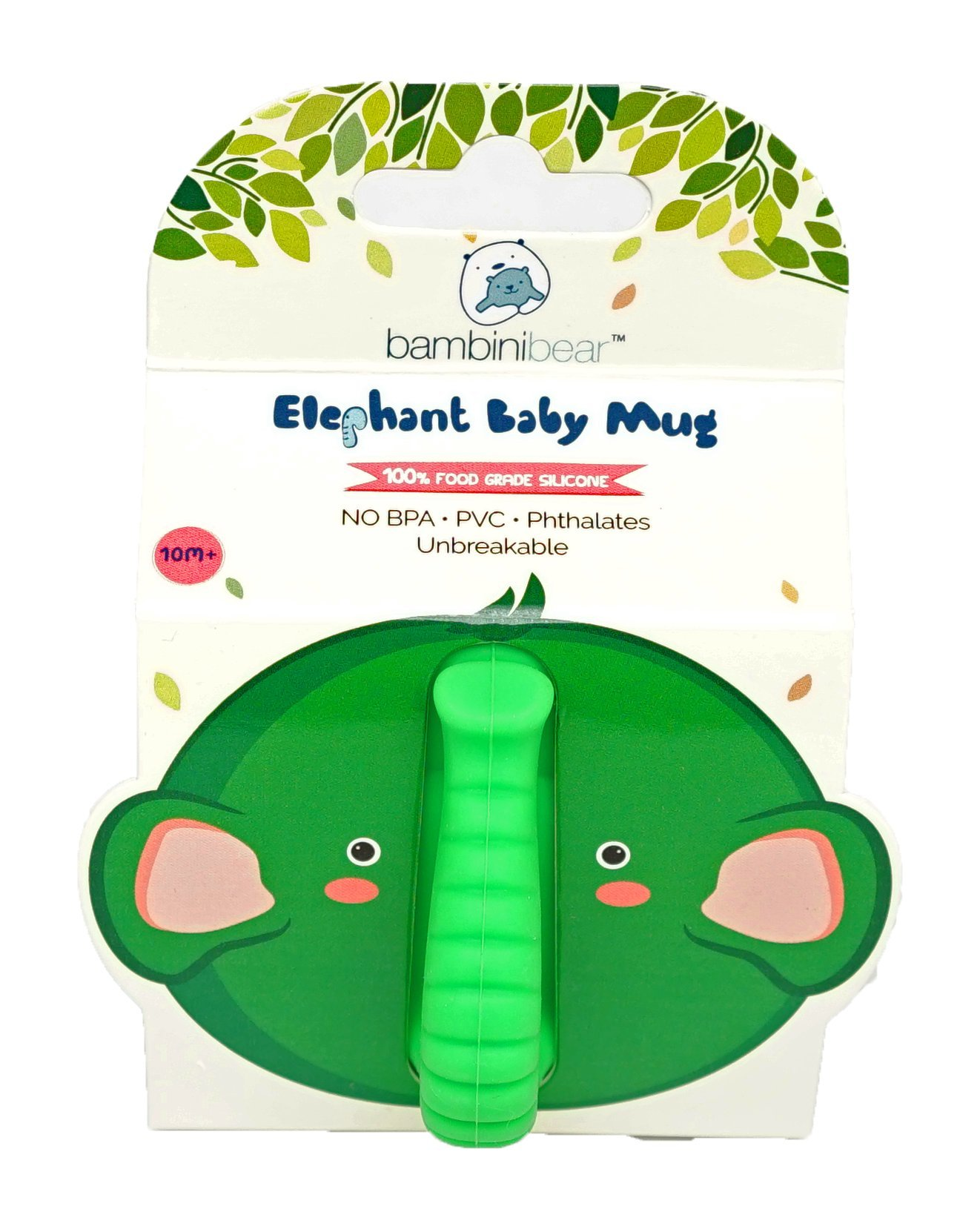 Baby Kid Sippy Cup Mug For Toddlers Learning Cup Elephant Design Great For Baby's Interaction Dexterity Food Grade Silicone BPA FREE Bambini Bear - Lime Green by Bambini Bear (Image #4)
