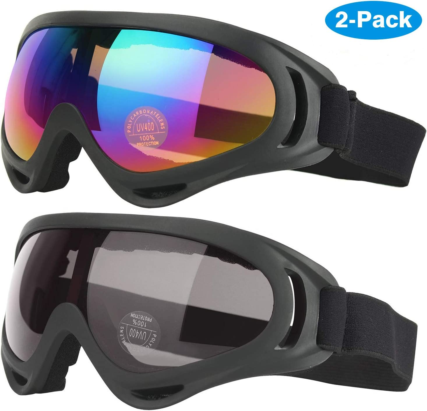 Elimoons Ski Goggles, Pack of 2, Snowboard Goggles for Kids, Boys Girls, Youth, Men Women, Helmet Compatible with UV 400 Protection, Wind Resistance, Anti-Glare Lenses