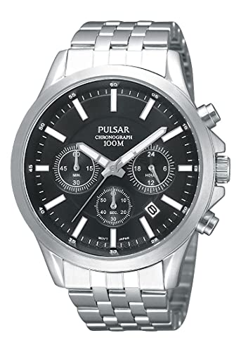 Pulsar Modern - Reloj analógico de caballero de cuarzo con correa de acero inoxidable plateada (cronómetro) - sumergible a 100 metros: Amazon.es: Relojes