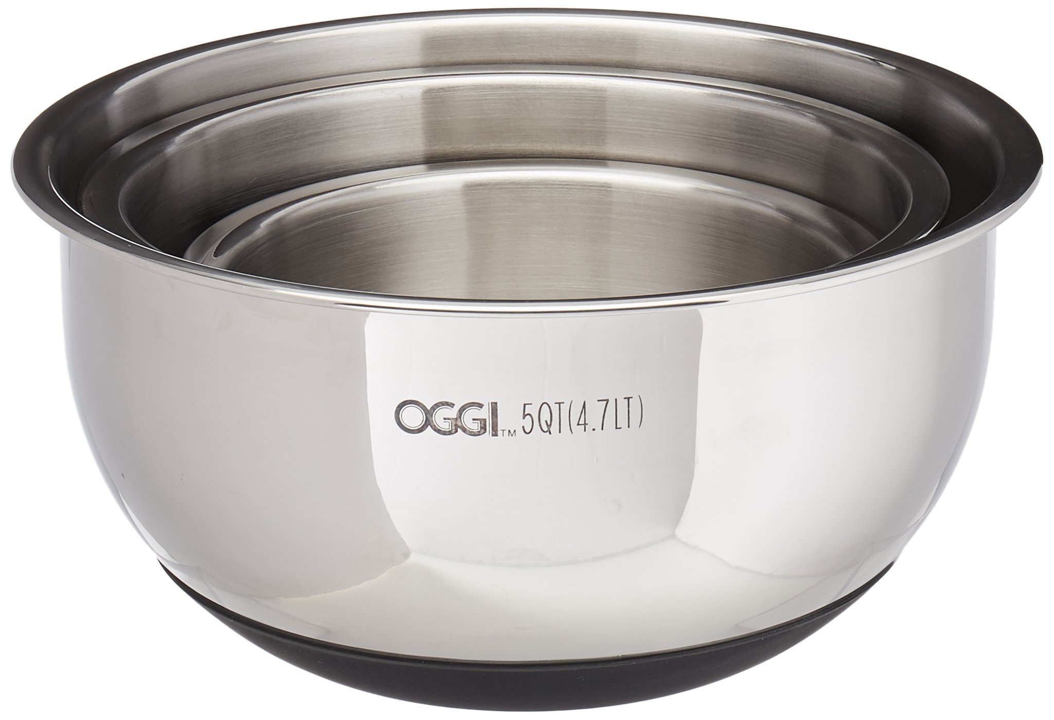 Oggi 7287.0 Stainless Steel 3-Piece Bowl Set with Lids