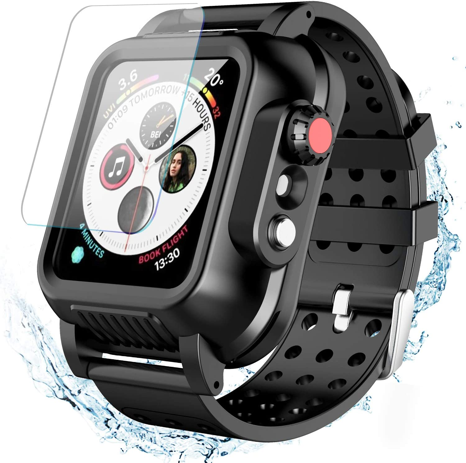 Temdan Waterproof Apple Watch Series 4 40mm Case with Band, New Designed Built-in Screen Protector Full Body Protective Rugged case with Soft Silicone Apple Watch Band for Apple Watch 40mm-(Black)