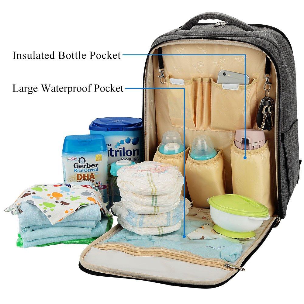 Lekebaby Mochila para pañales con cambiador y gancho para carrito de bebé, color gris: Amazon.es: Bebé