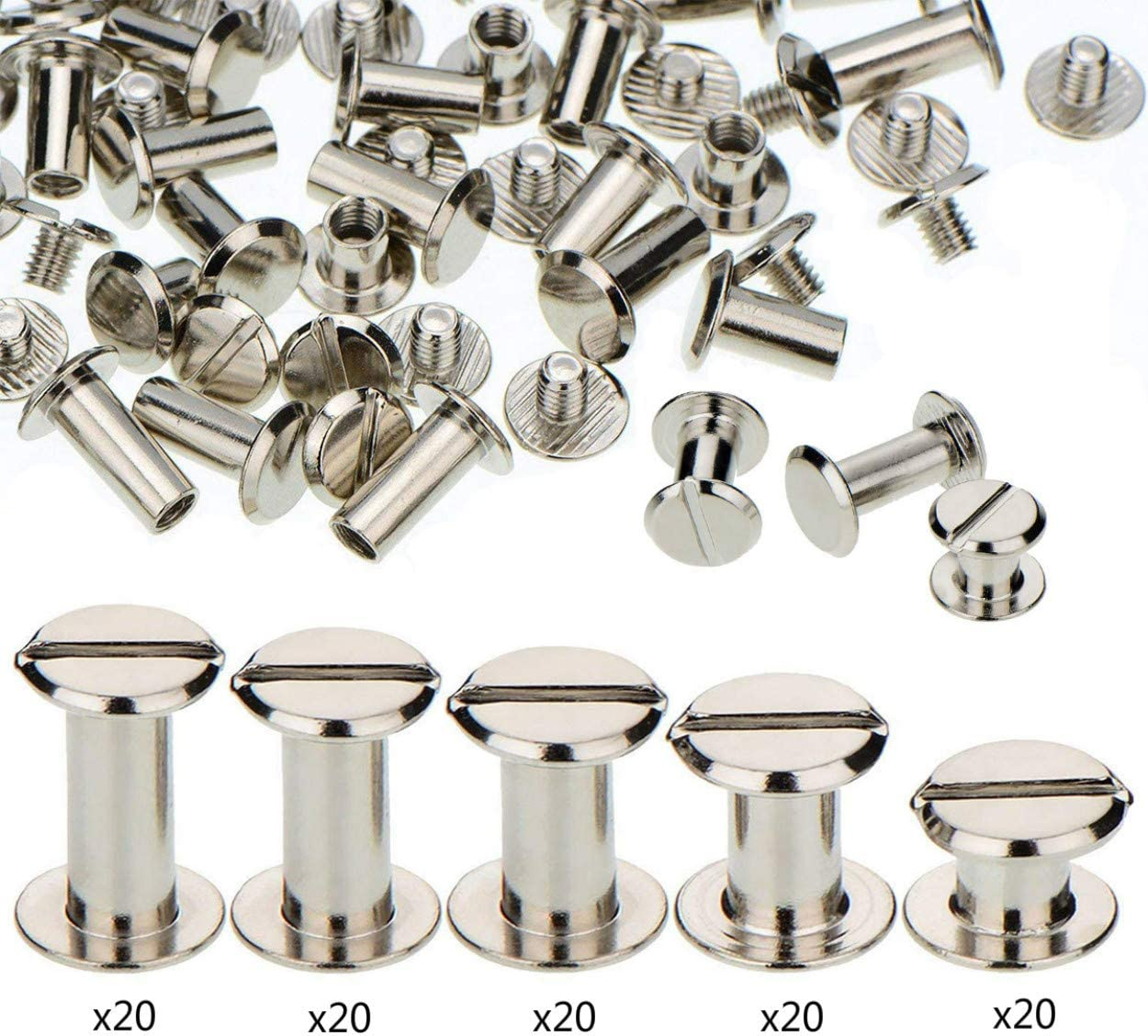 100 Sets Screw Post Metal Chicago Screws Binding Screw Leather Screw Nail Rivet Button Solid Belt Tack Screw (Silvery, M5x6/10/12/15/18 mm)