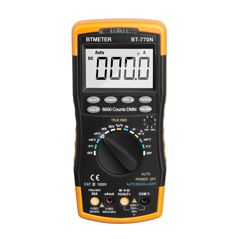 Multimeter, BT-770N BTMETER Auto/Manual Range Digital Avometer Universal Meter 6000 Counts With Self-Locking Protection, NCV, Diode, AC & DC Voltage, AC & DC Current, Resistance, Capacitance