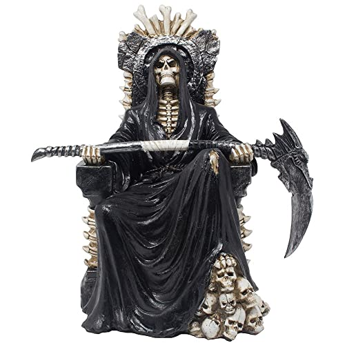 Evil Grim Reaper on Bone Throne Statue with Scythe and Skull Accents for Scary Halloween Decorations or Spooky Gothic Decor Sculptures Figurines As Fantasy Gifts for Man Cave