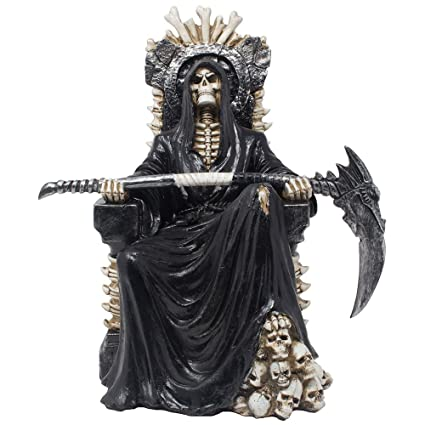 Evil Grim Reaper On Bone Throne Statue With Scythe And Skull Accents For Scary Halloween Decorations Or Spooky Gothic Decor Sculptures Figurines As