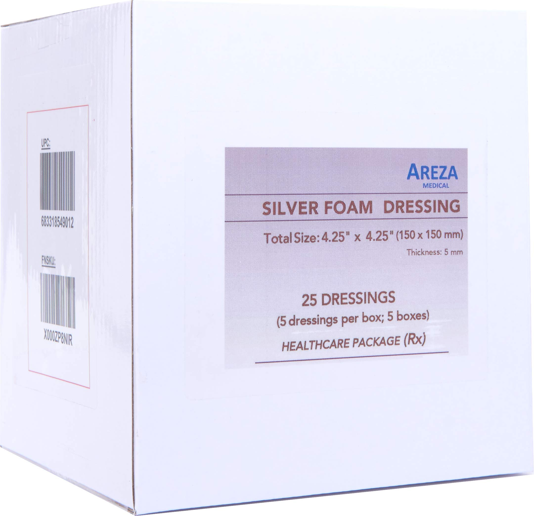 Silver Foam Dressing Sterile 4.25''x4.25'' 25 Dressings (Healthcare Provider Package); Wound Dressing by Areza Medical by Areza Medical