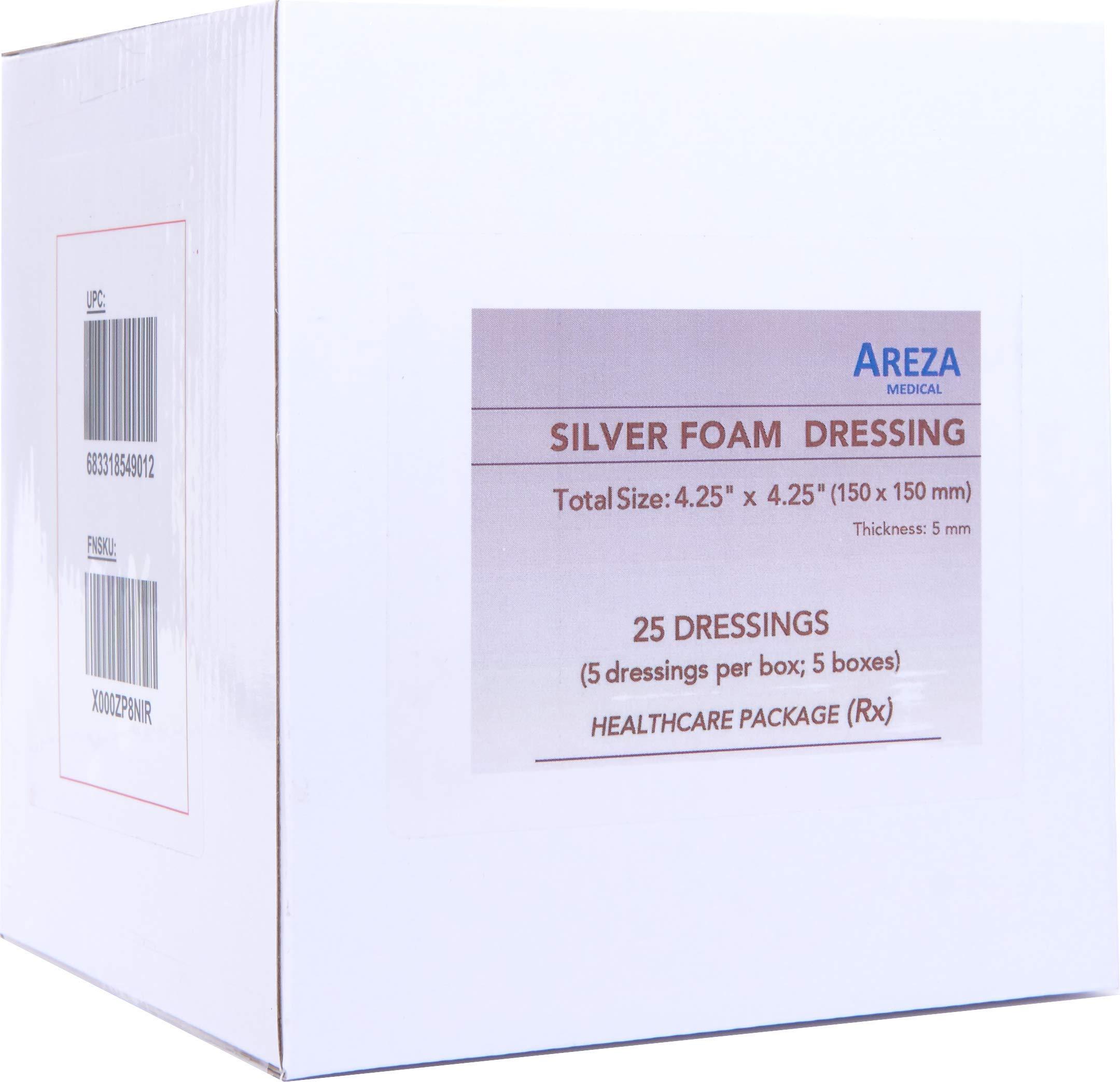 Silver Foam Dressing Sterile 4.25''x4.25'' 25 Dressings (Healthcare Provider Package)