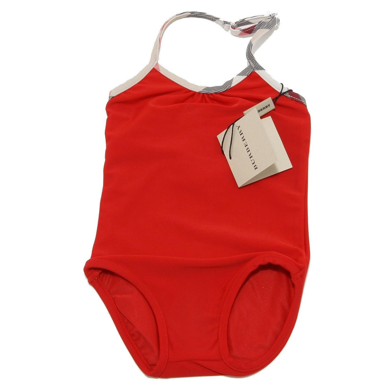 Burberry 2108O Costume Intero Mare Bimba Rosso Swimwear Kids