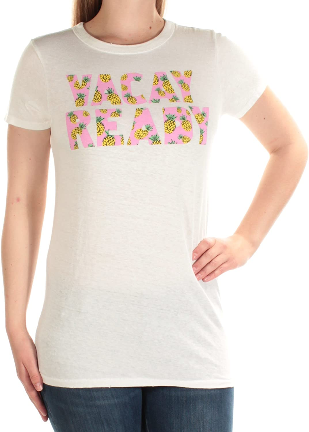 Junk Food Women's Vacay Ready Graphic Short Sleeve Pineapple T-Shirt Aire Off-White