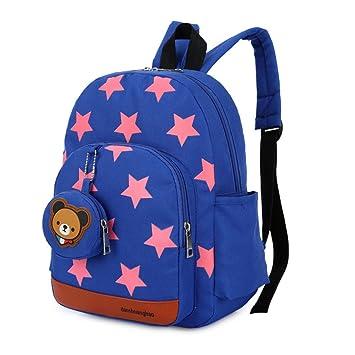 Mochila para niños,Bolsos de escuela para niños Mochila de mochila de niño pequeño Bolsas preescolares de guardería Cute Star Bear (3-7 años de edad)-azul: ...