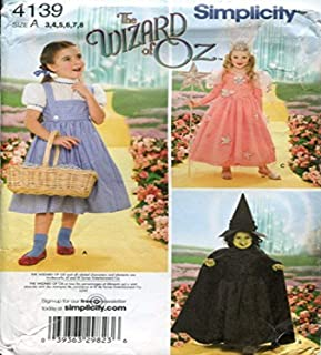 product image for Simplicity 4139 'Wizard of Oz' Dorothy, Wicked Witch and Glinda Good Witch Halloween Costume Sewing Pattern for Children, Sizes 3-8