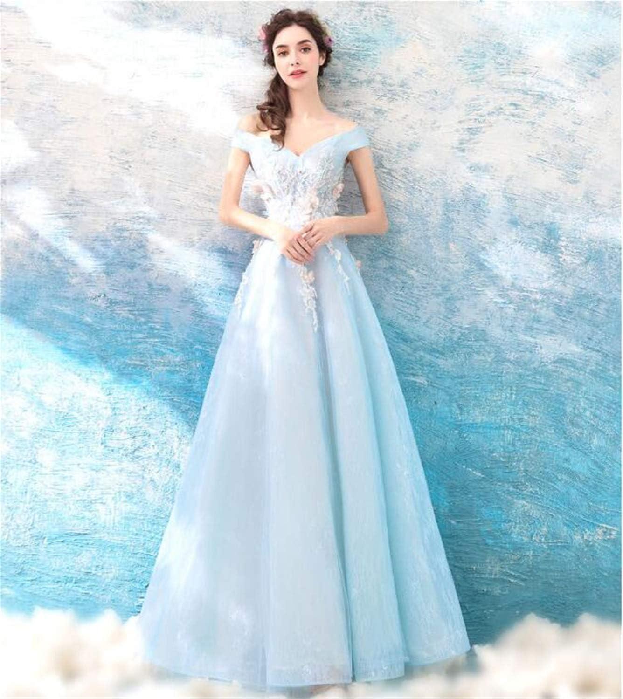 LYJFSZ-11 Hochzeitskleid,Elegantes Hellblaues Bodenlanges