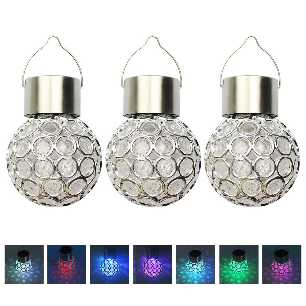 LUCKSTAR Solar Hanging Ball Lights Set of 3 - Lantern Ball Outdoor Hanging Decorative Sparkling Crystals Gazing Ball with Solar Powered 7 Color Changing LED for Gardens Home Weddings Party (White.)