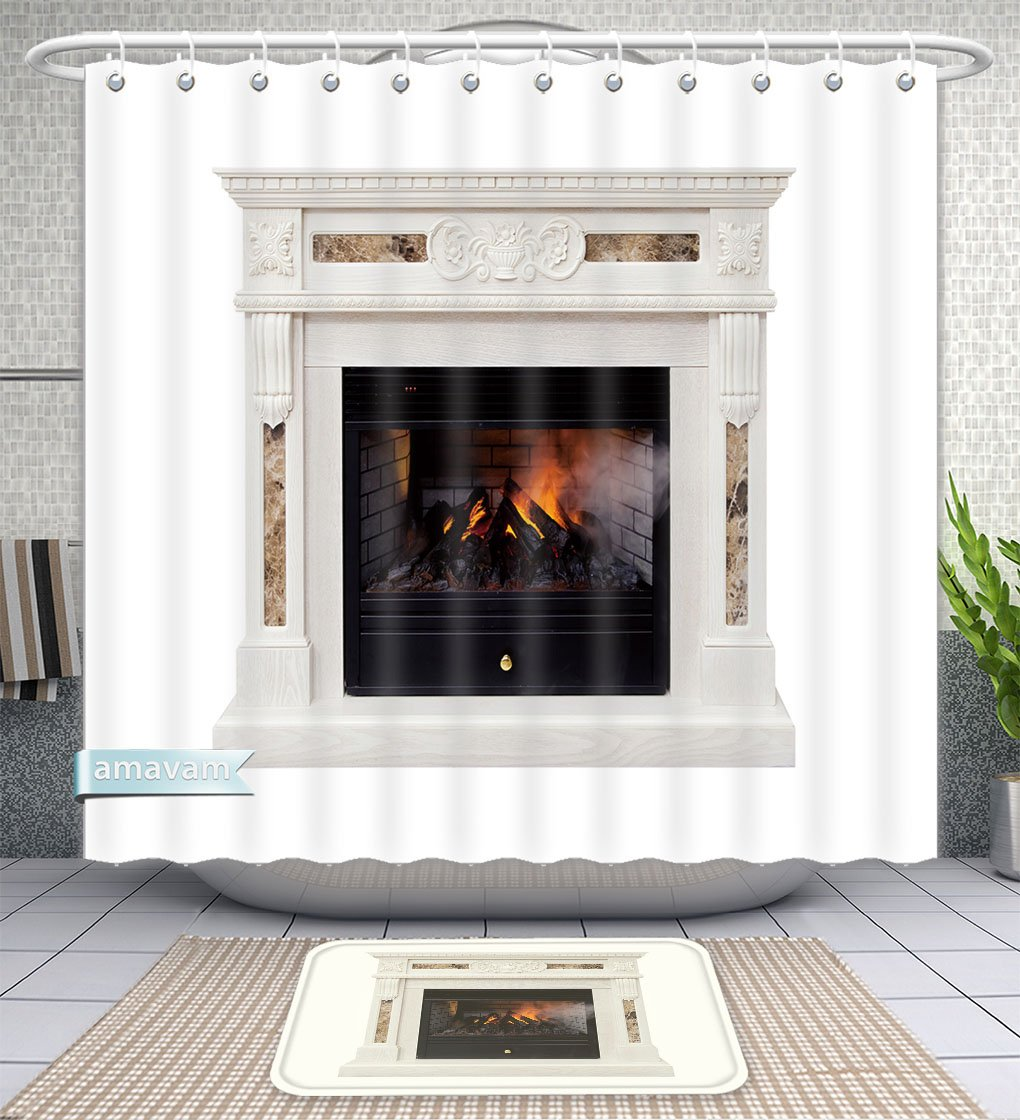 Unique Custom Bathroom 2-Piece Set White Luxury Artificial Electronic Fireplace With Firewoods Isolated On White Shower Curtains And Bath Mats Set, 66''Wx72''H & 23''Wx16''H