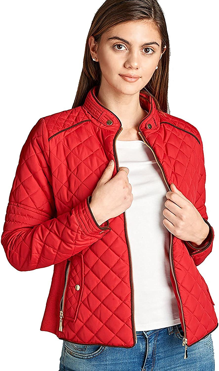 StyLeUp Womens Quilted Padded Suede Piping Detail Jacket /& Vest