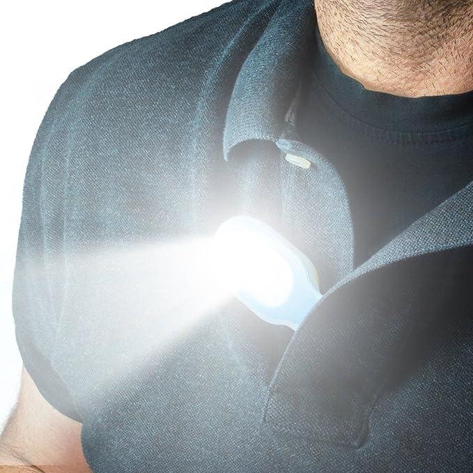 Auveach - Linterna LED con clip en las manos libres, linterna impermeable LED, collar de seguridad, luz Clip-On con imán de gel de silicona para ...