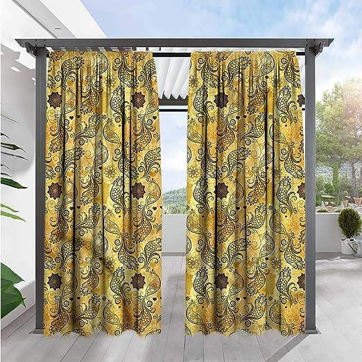 Marilds - Cortina para Puerta corredera, diseño de Ondas de Estilo tartán, Color Amarillo y marrón: Amazon.es: Jardín