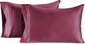 Chateau Home Collection 100% Egyptian Cotton Set of 2 King Pillowcases 800 Thread Count Solid Sateen Weave Hotel Luxury Premium Wrinkle Free Super Soft Comfort Bedding (King, Burgundy)
