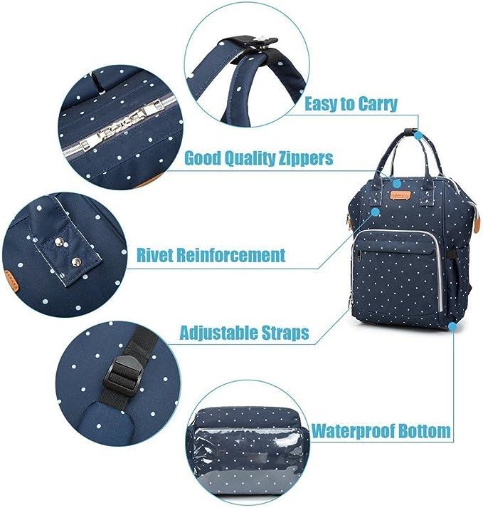 ligero elegante Durable Mochila con bolsillo botella aislante para mam/á y pap/á Multifunci/ón pa/ñal bolsa de pa/ñales cambiador de viaje Bodian Azul gran capacidad mochila bolsa reutilizable