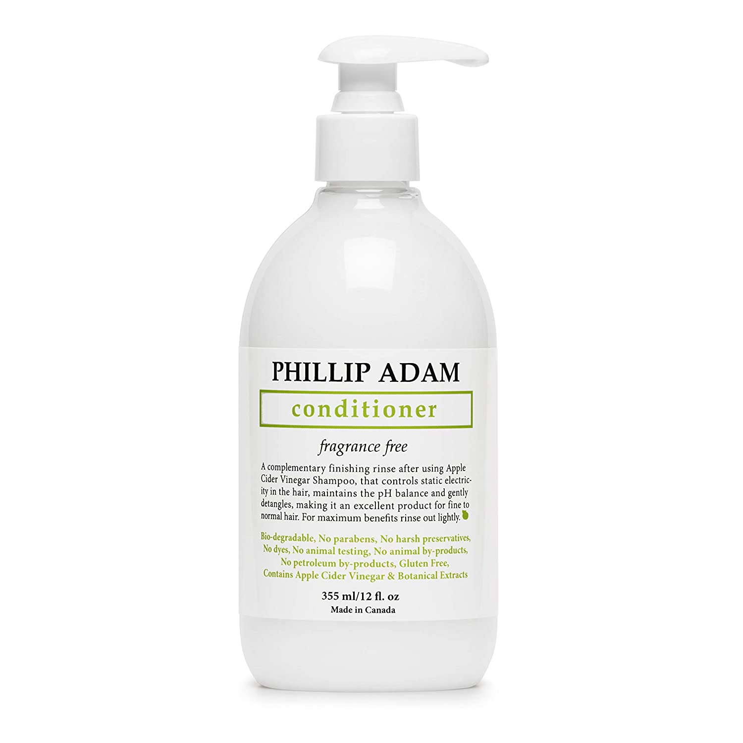 Phillip Adam Fragrance Free Conditioner - Apple Cider Vinegar Formula - No Parabens - For All Hair Types - 12 Ounce