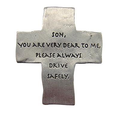 Fine Pewter Son Always Drive Safely Cross Auto Visor Clip, 2 1/8 Inch: Automotive