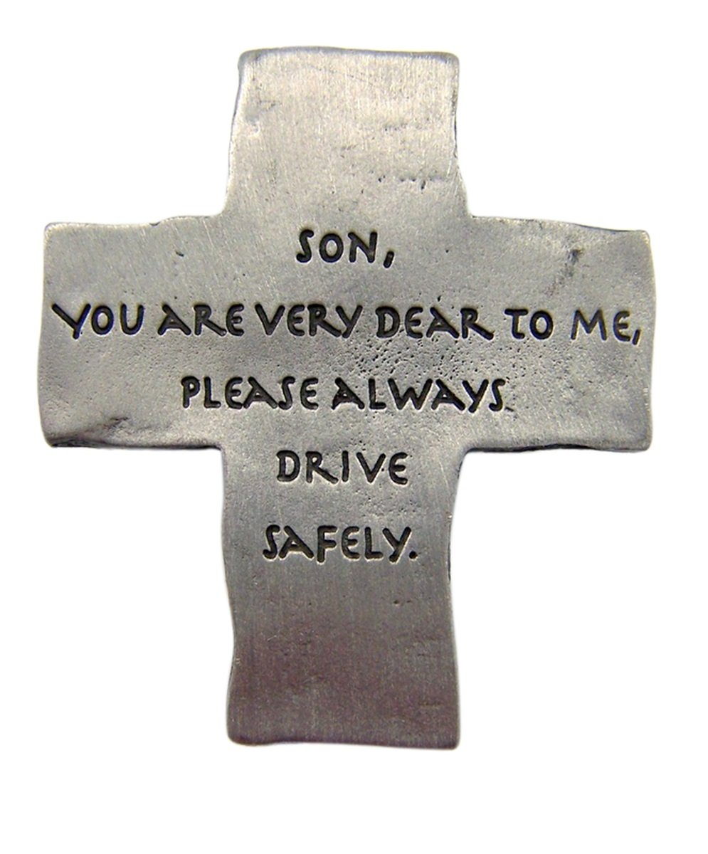 2 1//8 Inch Singer Co Fine Pewter Son Always Drive Safely Cross Auto Visor Clip